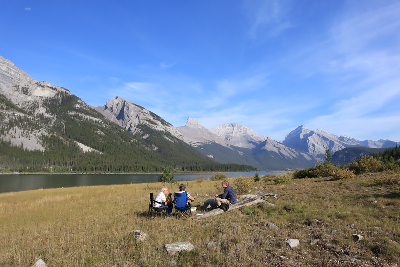 Apero with Swiss couple at Spray Lakes West Campground