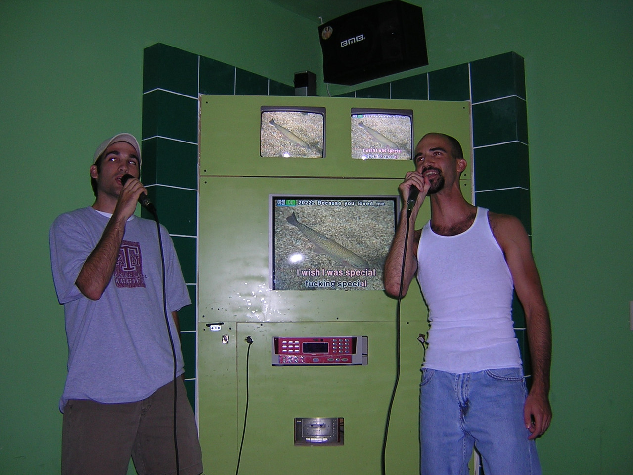 "Bill and his brother sing ""Creep"" by Radiohead.  If you look closely, there's a bad word on the screen. Tee hee."