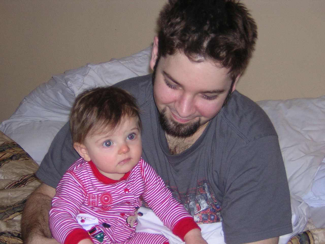 The first time I have ever seen my brother smile when he is woken up.  How could you not, though, being woken up by this little elf!nDSCN6148.JPG