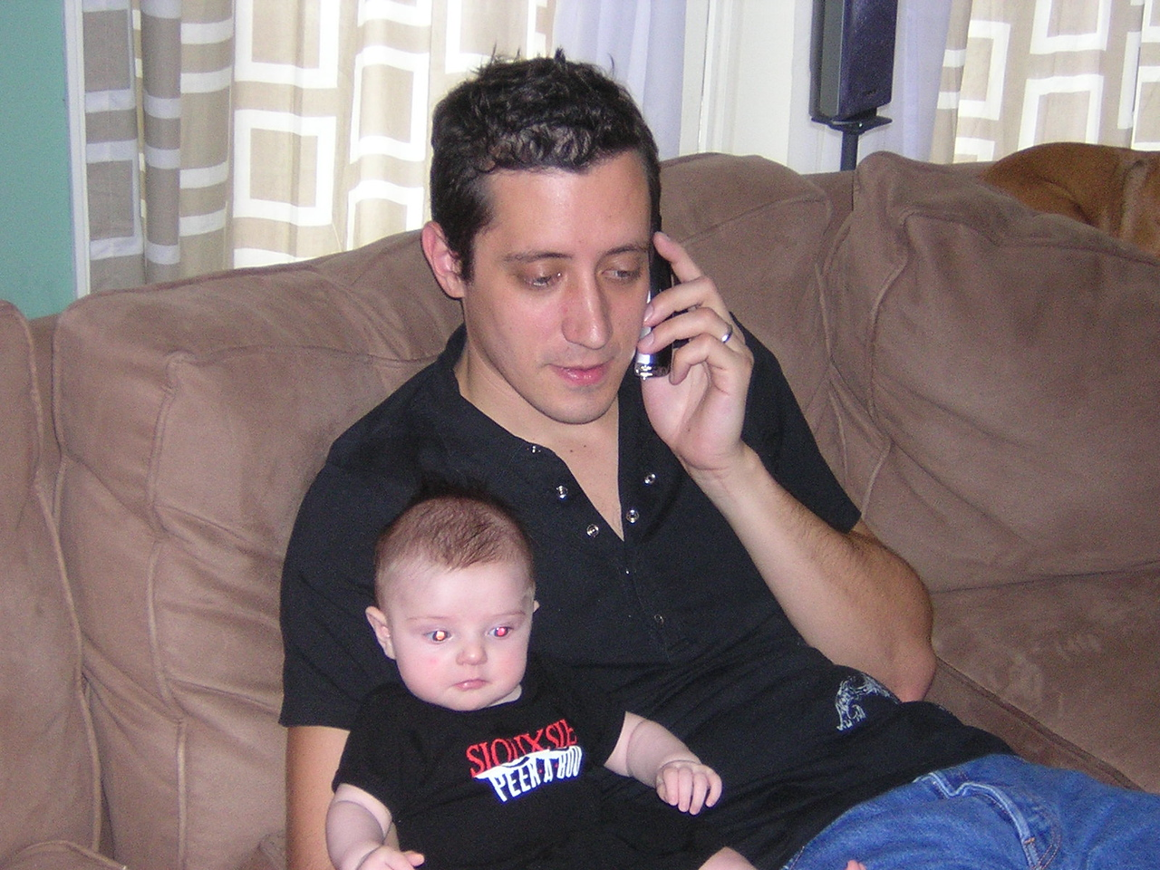 Stella is 3 months old today and to celebrate, she and Daddy go all goth.nDSCN4872.JPG
