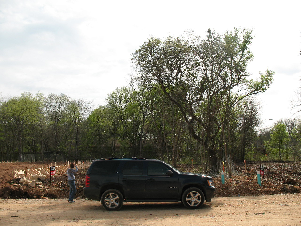 a view of our lot from across the street.  You can see that there will be a view trees in the front as well.