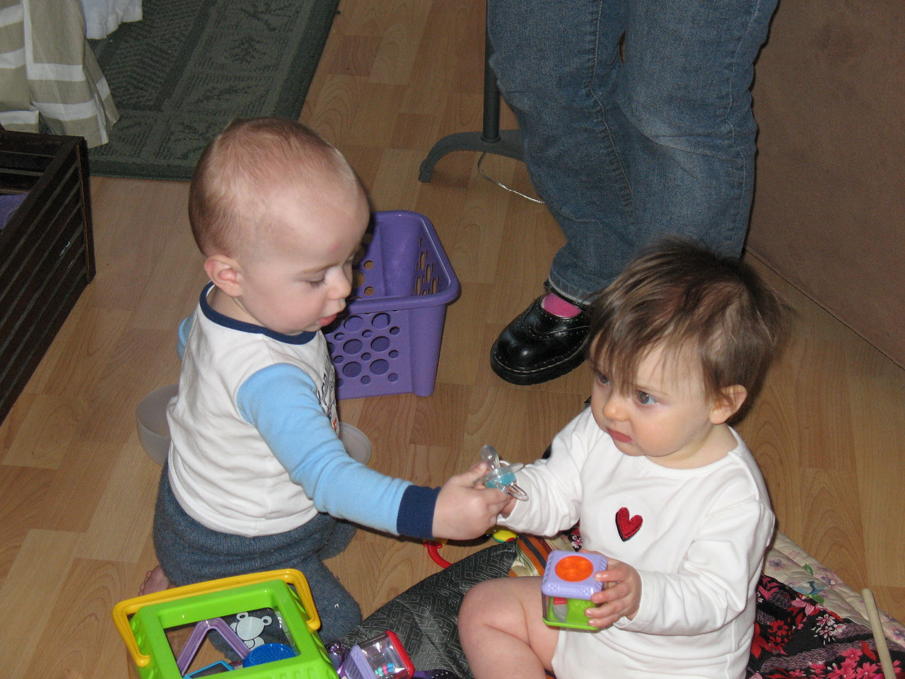 "Henry and Stella play, ""pass teh pacifier.""nIMG_0413.JPG"