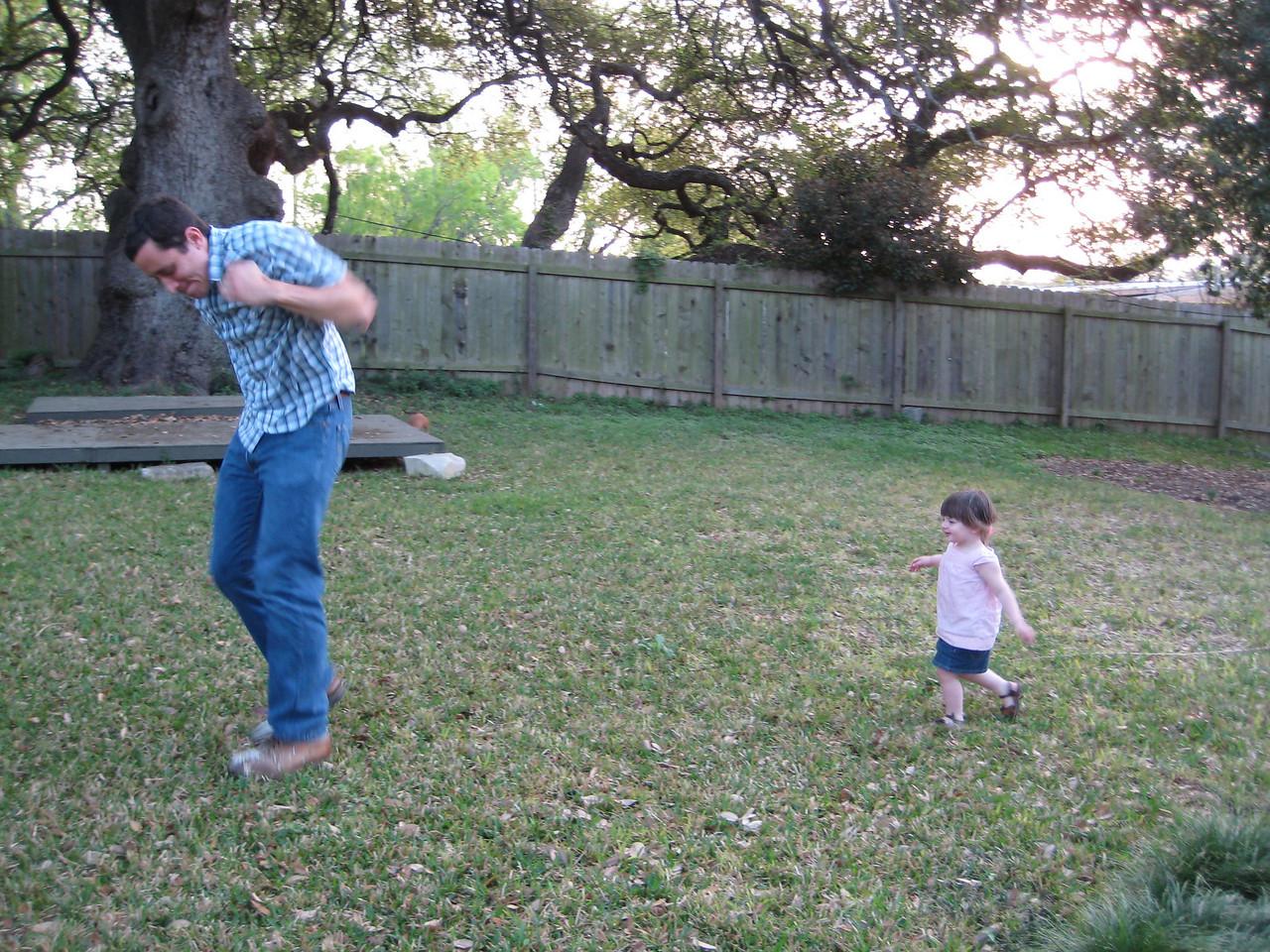 Stella chasing Daddy