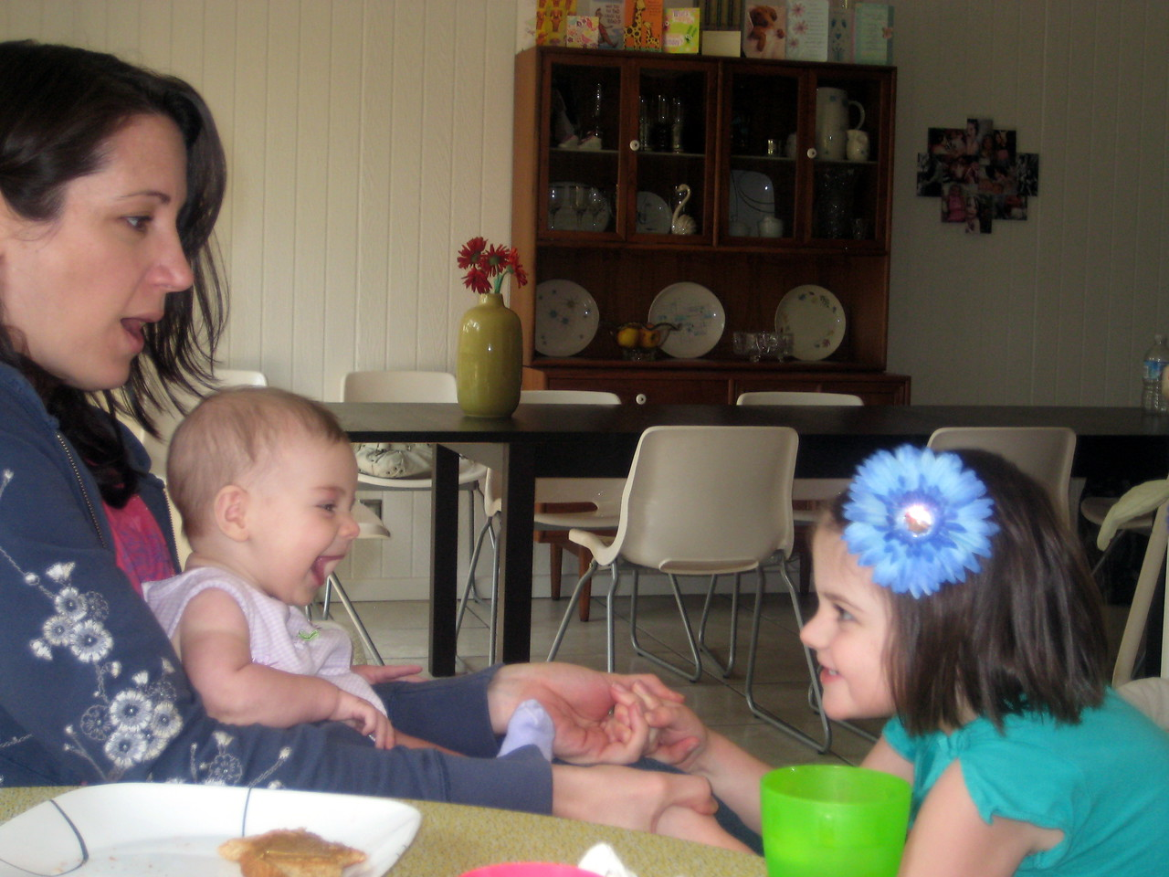 The girls playing with their Aunt Caroline