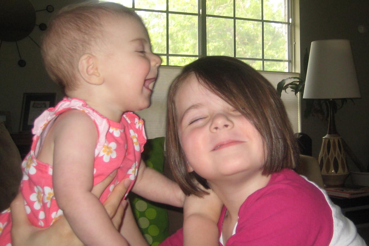 Etta and Stella clowning around