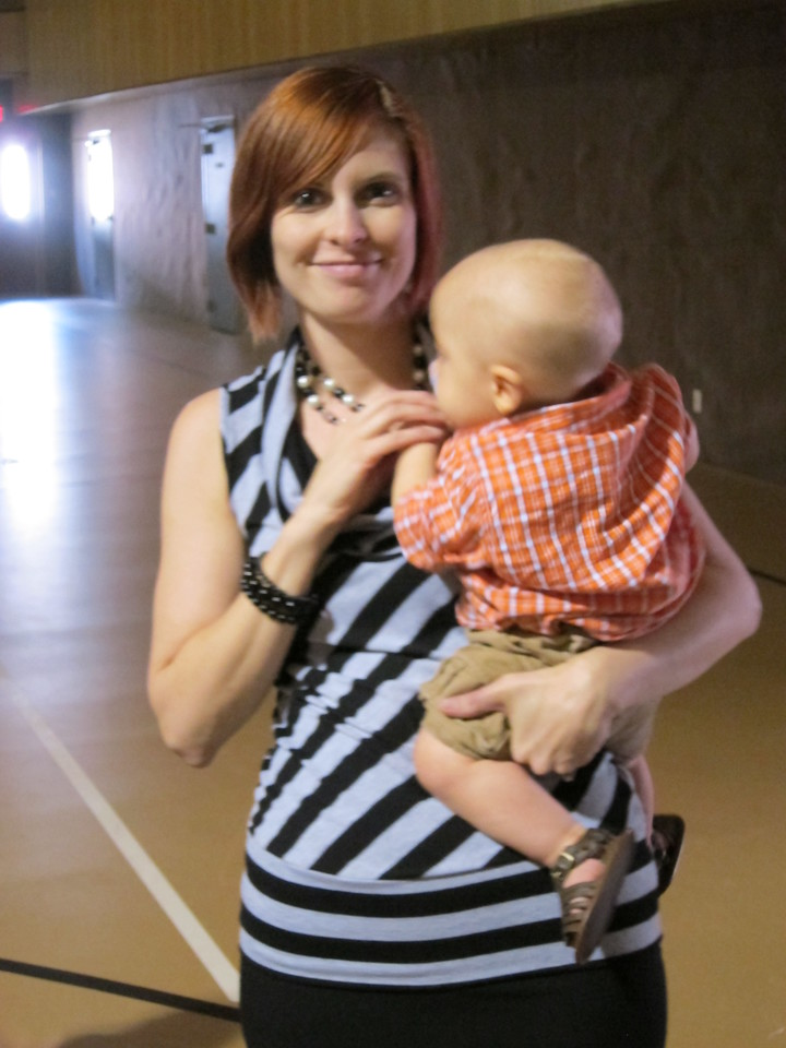 Trying to get a picture with Jackson, my cousin's sweet little boy, but He was too interested in my necklace