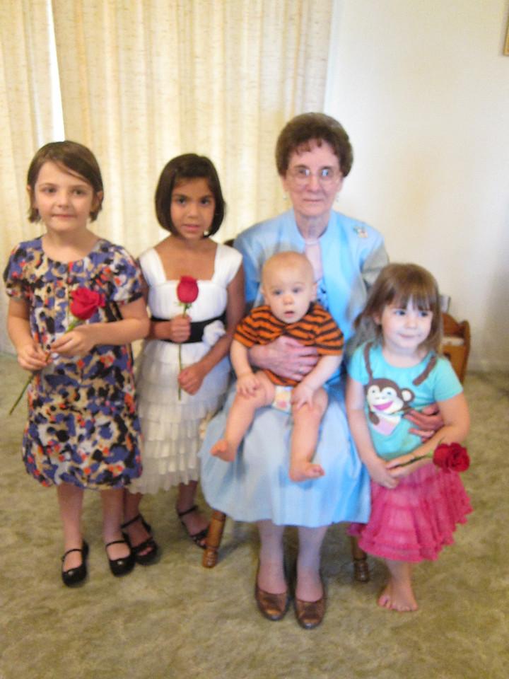 Mama and the great-grandchildren:  Stella (5.5), Sadie (6.5), Jackson (10 months) and Etta (2.5)
