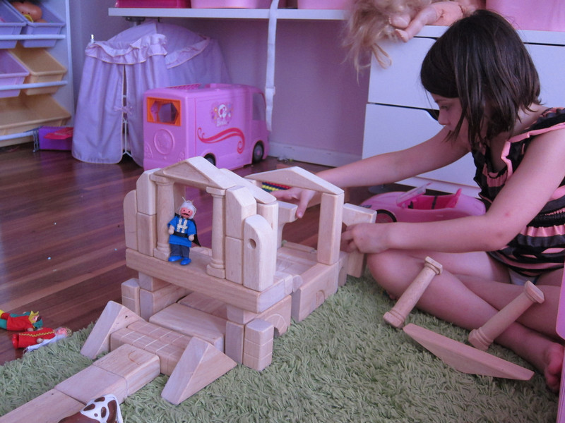 Building a castle.  Etta was the forewoman, Stella and I just did her bidding