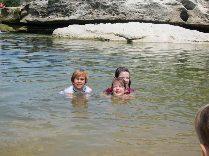 Thibeaux, Etta and Stella swimming
