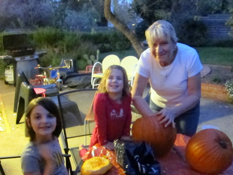 Carving pumpkins with Baba