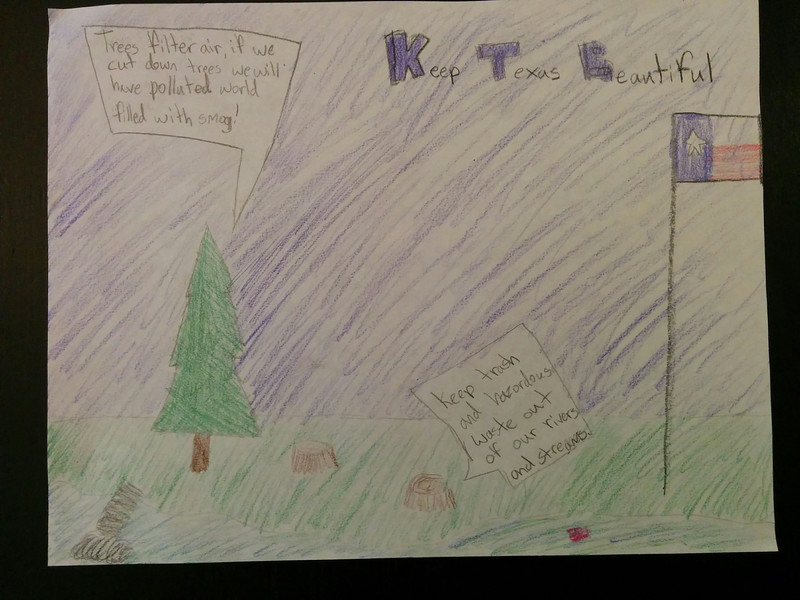 Stella's artwork for the Keep Texas Beautiful Contest
