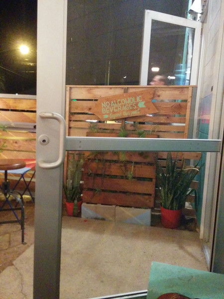 Cool Cactus planter made out of pallets at Blue Owl