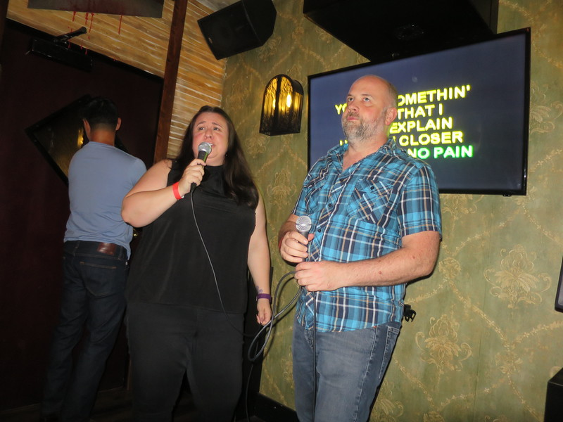 Olivia and Steve Duet.  Note Ed playing bouncer.  No riff raff getting in here!