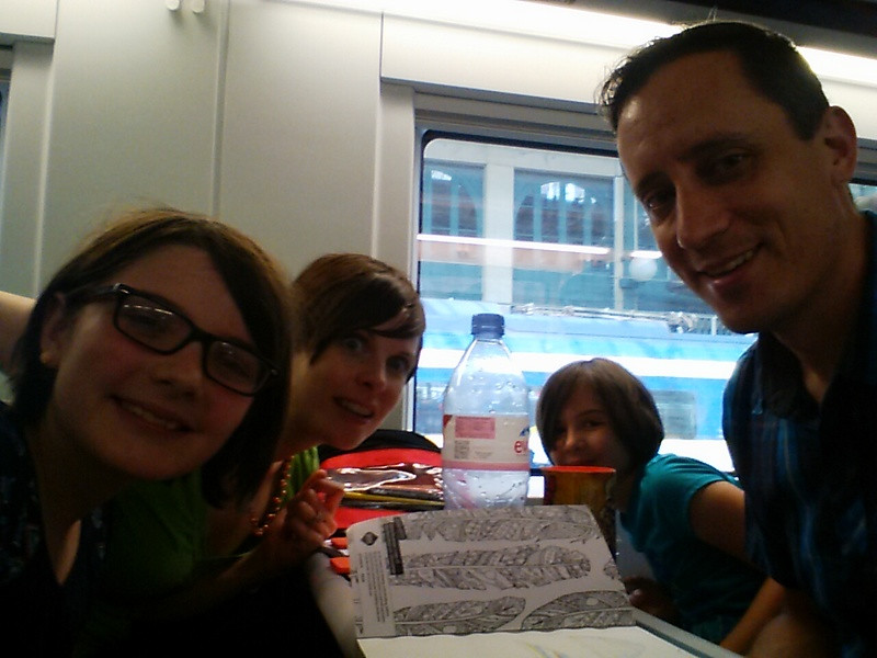 On the train from Paris to London.  Jet-lagged, filthy, but we made it!