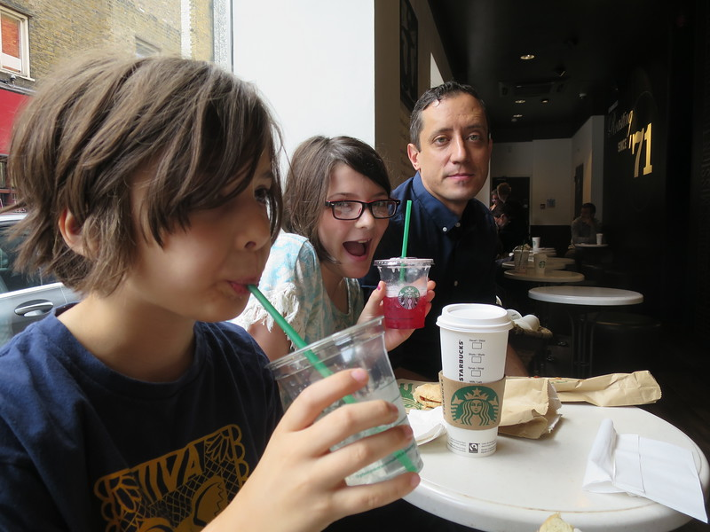 Yes we ate at Starbucks.  But it was soo different!  They put cream in your coffee for you and they offer you brown sauce or ketchup ;)