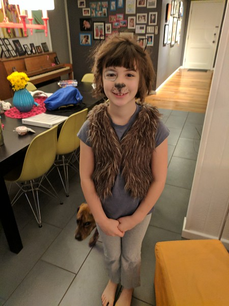 Etta dressed as a 100 year old dog for the 100th day of school