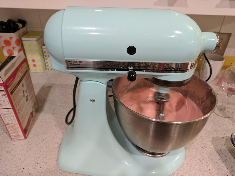 pretty pink cupcake mix in my pretty mixer