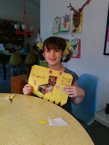 Etta and the card she created for Simon's birthday