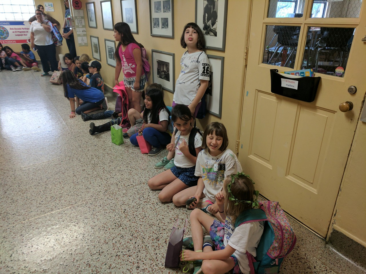 "2nd graders waiting to ""clap out"" 5th graders"