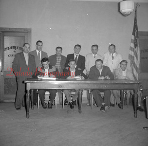 (03.28.1957) Catholic war veterans building committee of Marion Heights are shown on March 28, 1957. Seated are Attilles Agros, Stanley Kinger, George Machusik and Richard Pinamonti; standing, Walter Pachalko, John Scopanski, Frank Pupo, William Pupo, Steve Yurcaho and Stephen Sheptock.