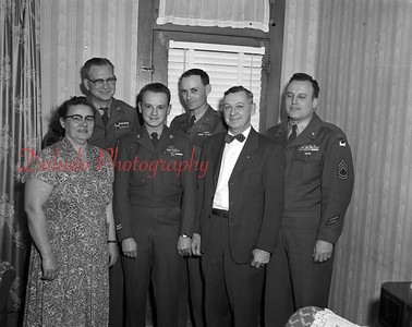 (1953) Awarded the Bronze Star Medal was Cpl. Edward J. Kalinowski, center, of 211 Third St., Ranshaw, for meritorious service in Korea. Also shown is, from left, Anna Kalinowski, mother, and father Anthony. In the back is Msg. Major E. Norman, Major Lynn E. Cochran and Sgt. First Class Monroe E. Herb.