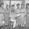 (05.16.62) Retirement ceremonies were held on May 16, 1962, for Major Evan  Simmonds, at his home in Mount Carmel. Members of the 365th Engineer Battalion in attendance included, from left, Oliver Sadler, John Timm, Albert Czarnecki and John Donohue. Also shown presenting a certificate is John B. Jones and Walter Gaffney.