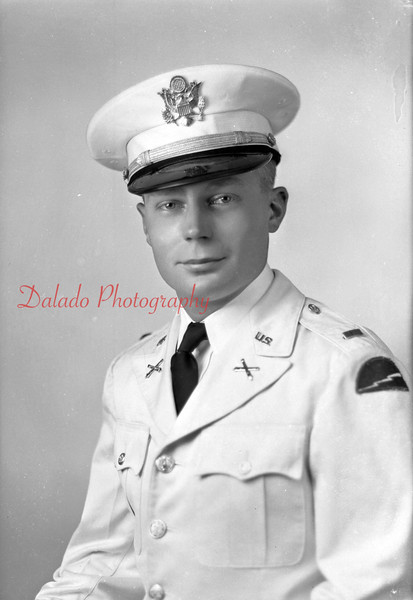 """Lt. Kenneth Allan, of 228 W. Arch St., Shamokin. Killed in action on March 1, 1945. He was 22. A son of Russel Allen and Ellen Dobmeier, Kenneth was killed in Germany. He enlisted in September 1942 while a student at Bloomsburg State Teachers' College. He was widely known as a drum major with the Shamokin High School and Teachers' College bands, and taught drum majoring at Danville. He trained at Camp Shelby, Fort Sill and Camp Butner.  His final station was Camp Pickett, from which he left the states in Oct. 1944. He had been wounded Dec. 19, 1944, and was awarded the Purple Heart. He returned to front-line duty with his artillery only a month prior his death. A brother, James Morse, 19, was killed in action in Belgium on March 20, 1944. A third brother, Howard Morse Jr., had been reported missing on Sept. 17, 1944. After Howard went missing, Dobmeier had spoken to Kenneth and James about the Army courtesy of allowing the last surviving son to be sent home, but both sons said they wanted to stay in the service and """"take up where the other left off."""" Kenneth is buried at Henri-Chapelle American Cemetery in Belgium. However, there is also a marker in the Shamokin Cemetery."""