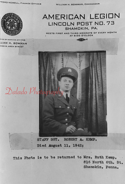 Staff Sgt. Robert Kemp. Killed in action on Aug. 11 , 1942.