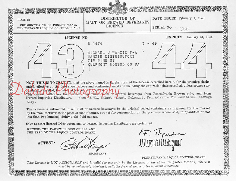 (1943) License for Wanzie Distributer.