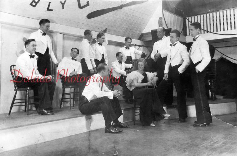 A popular Shamokin dance band of the early 1930s was that of the Eddie Gordon and His Orchestra. The band is shown during a break at Maysville Park Pavilion. Seated are Ed Hoffman, left, Dorothy Cole. Others from left include Fritz Lupold, Al Carsto, Kelly Borgetti, Jack Price, Walter Culp, Frank Bashore, John Ambicki, Gordon Thompson, W. Fred Kohler and Eugene Kline.