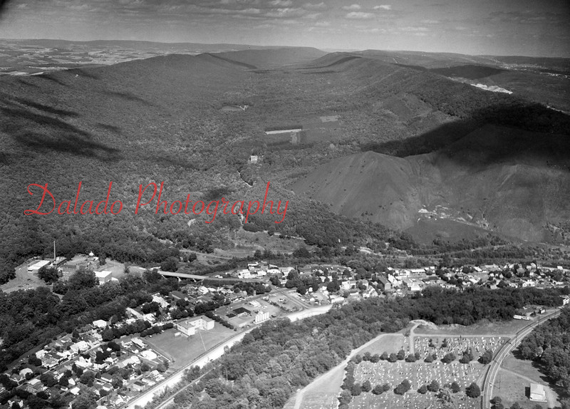 Roaring Creek Watershed- This photo is looking east from above Uniontown. The first clearing is the current location of SCI Coal Township, which was built in 1993. The #4 reservoir is located just beyond that.