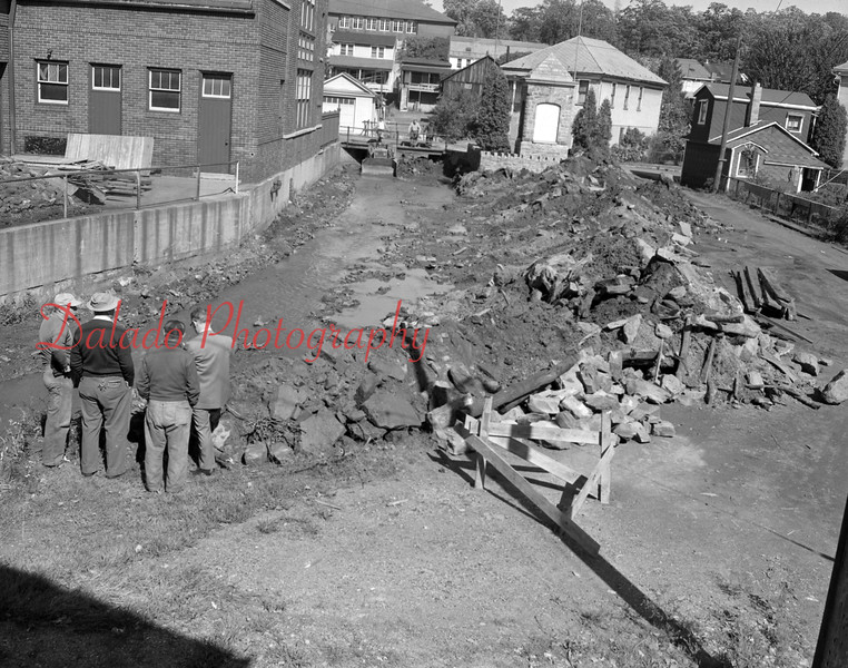 (Oct. 1956) This creek in Ranshaw will be covered in an improvement undertaking by St. Anthony's Church. When covered, the area will provide 3,318 square-feet, which will be used as a player center or a recreational area.