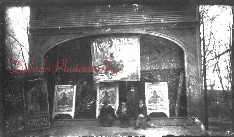 "*Low-Res* Although a small photo and in poor shape, this was captioned as being a movie theater in Brady. If you are wondering, the 'Hindu Nemesis"" came out in 1914."