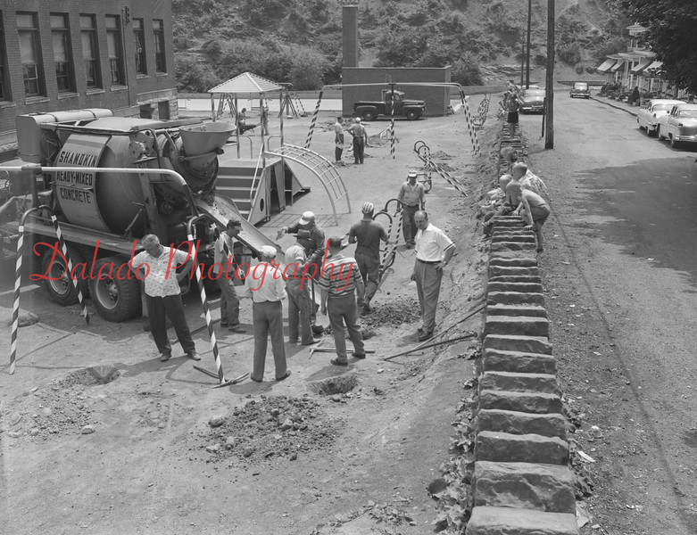 (1959) Construction of McKinley School playground in Coal Township. Shown here is the Optimist Club working on the playground.