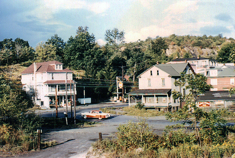 *Low-Res* The Charles Deitman (Brady) house, left, that was torn down in 1969 to make way for the Routes 61 and 901 interchange. The building housed a Gulf Gas Station on the first floor and a residence on the remaining floors. The small building with the red sign was the location of the Post Office. The total cost of the Lancaster Switch Project was estimated at $2.3 million.<br /> <br /> *Thanks to Stephanie C. John for the photo. To contact her, please email her at johnste@live.com*