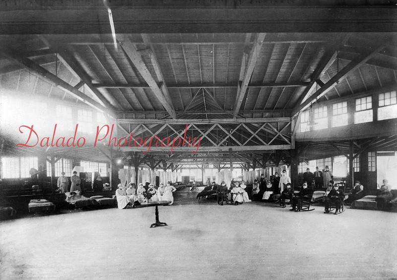 (1918) Temporary hospital setup at Edgewood Park pavilion during a flu epidemic.