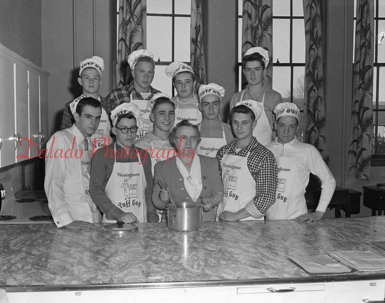 (02.25.1954) Ralpho Township Chef Club- Ralpho Township High School Chef Club, supervised by Mrs. Hartman, on Feb. 25, 1954. Pictured, left to right, front row, Clark Kase, Mrs. Hartman and Buddy Holman; middle, Albert Lehman, Wayne Swank, Bob Updegrove and Frank Kerstetter; back, Bob Pensyl, Leon Pensyl, James Nye and Bruce Carl.