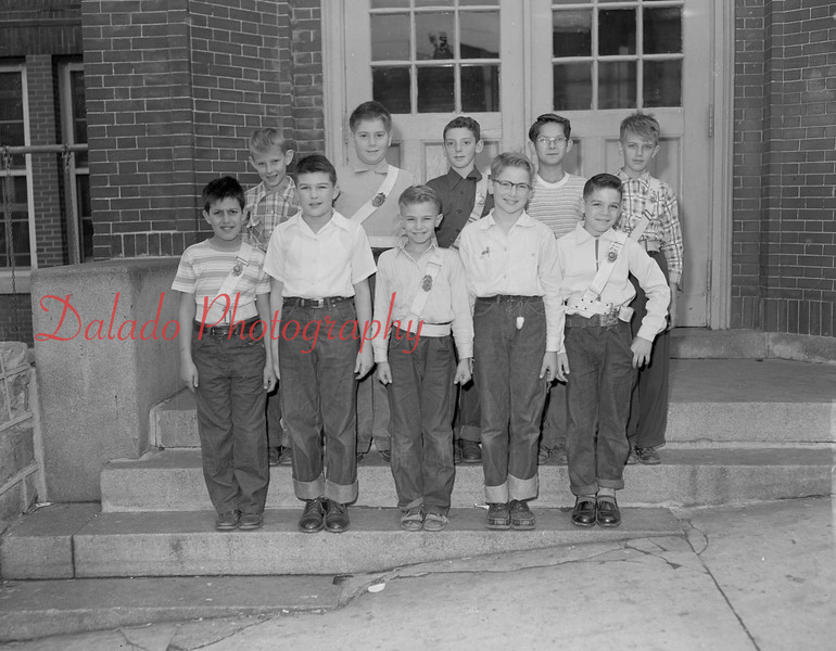 (10.21.54) Patrol boys of McKlinley School, Mount Carmel, are, front row, from left, Robert Hancock, David Steinhart, Harry Hodick, Robert Banks and Anthony Carter; second, David Kroh, Robert Block, Ed Donkochick, Timothy Barnes and David Wilkinson.