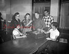 **Unknown school. (11.10.55) Correcting errors in speech are these senior students under the direction of Miss Irene Fritz, head of the English department, with the use of a tape recording machine. Pictured are, from left, Alice Artman, Miss Fritz, Carol Faust, Tom Quinn, Ray Jones and Ned Zartman.