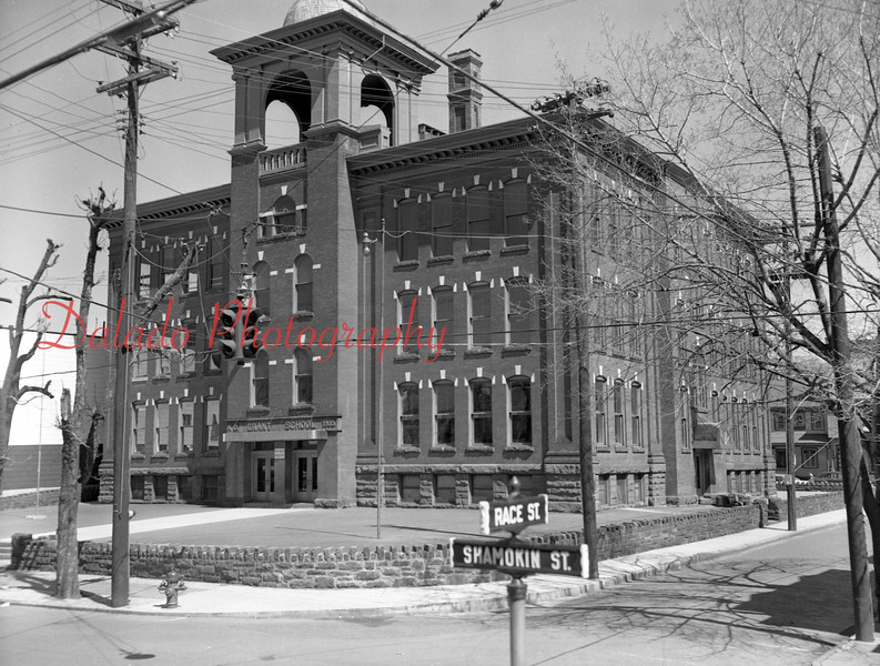 (1958) Grant- This is now a playground at the corner of Race and Shamokin streets. The building was demolished by the Shamokin Area School Board in the spring of 1965.