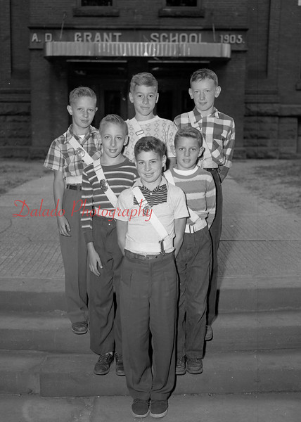 (10.04.53) Grant School patrol boys are, front row, Francis Verano; second, Donald Haertter and John Lentz; third, Gerald Kramer, William Spears and John Young.