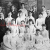 (1887) Shamokin High School Class of 1887. Identified in this picture are, front row, from left, Hettie Fry, Letitia Tinley, unknown; second, Prof. Farrow, Lina John, Blanch Roth, and Mamie Heilner; third, unknown, Emily Boughner, unknown, Josephine Evert and Prof. Owen; back, Bella Gable, Daniel Green, Bella Heilner, Joseph Gross and Katie Startzel. (This picture was taken just four years after the alumni association was formed. Because of its significance, the photo and professional frame were donated to the high school.)