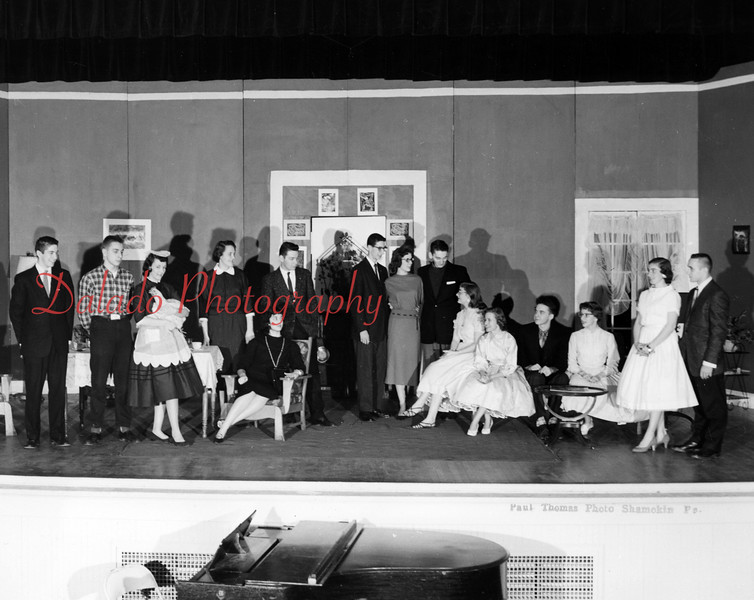 (1958) From the Shamokin High School alumni association 75th anniversary book. Class play.