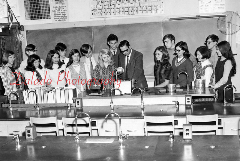 (1969-1970) Shamokin Area High School science club- Pictured are, from left, Helene Yocum, Dave Derck, Barb Milbrand, Jean Radziewicz, Lee Richie, Karen Welker, William Sarge, Melanie Chowka, Peter Eichen, Mr. Kanaskie, Joan Radziewicz, Larry Ford, Anselma Kanuchok, Nancy Salwacki, Kerry Williard and Valerie Martz.