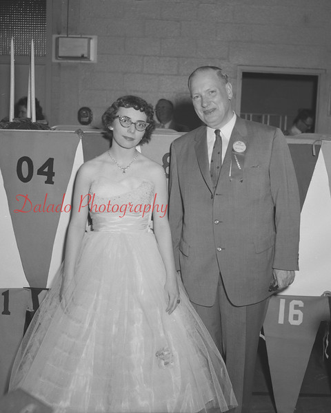 (06.05.58) Two valedictorians from Shamokin High School attend the alumni association event. Pictured are Dorothy Shomper, Class of 1958, and William Trautman, Class of 1923.