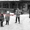(1958) Children with a soldier near the Shamokin High School.