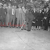 (05.11.55) Breaking ground for the new Shamokin Annex are William Ressler, chairman of the Shamokin Area Joint School Authority, and George Krieger, president of the school board. Around 300 people attended the first school building project in the city in 45 years.