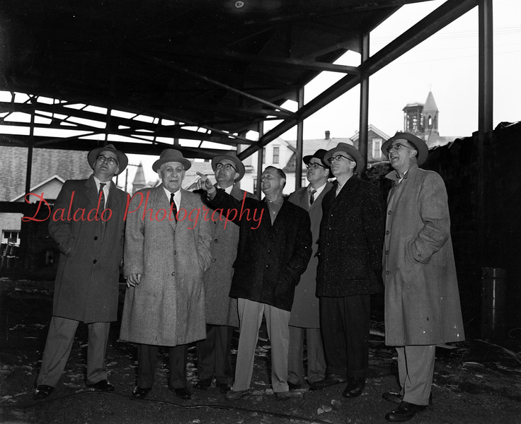 (02.23.56) Looking at the framework of the Shamokin Annex now under construction are George Mast, center, and, from left, George Krieger, P.F. Barr, Dr. J.L. Hackenberg, Robert Maue, T. Chester Lark and Robert Dockey.