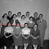 "(03.31.1955) Dramatic Club of Ralpho Township High School on March 31, 1955, presenting ""Call Me Darling."" Pictured are, front row, Mary Latsha, Alice Reichard, Joann Cecco and Ellen Kuhn; second, Nancy Leisenring, Doris Wolfgang, Nancy Leibach, Marlene Bordman and Bruce Starr, director; third, Don Herring, Larry Pensyl, Albert Cecco and James Swank."
