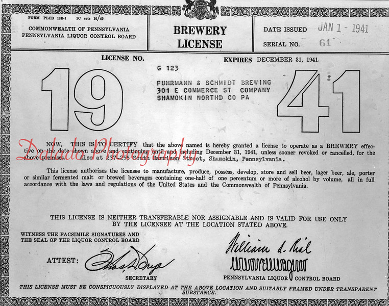 (1941) F&S brewery license.